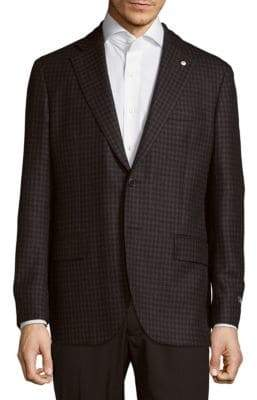 Lubiam Classic Fit Checked Wool-Blend Sportcoat