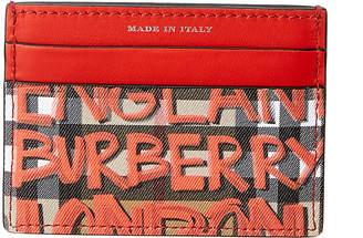 Burberry Graffiti Print Vintage Check Leather Card Holder