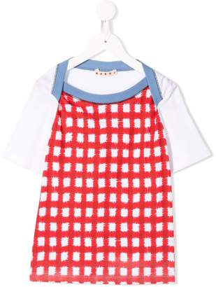 Marni red and white squares T-shirt