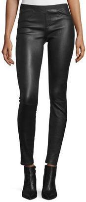 Helmut Lang Leather Ankle Leggings, Black $920 thestylecure.com