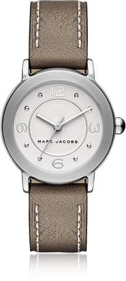 Marc Jacobs Riley Silver Tone and Brown Leather Bracelet Women's Watch