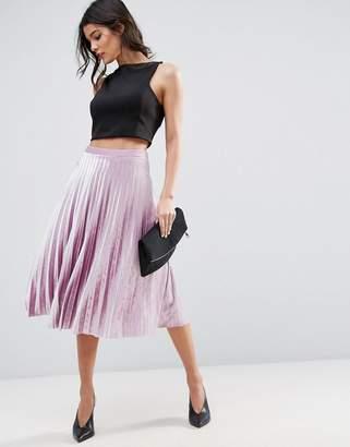 ASOS Pleated Midi Skirt in Velvet $58 thestylecure.com