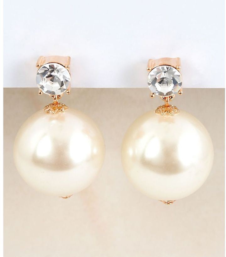 Betsey johnson pearl & cz earrings