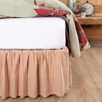 Ashton & Willow Parchment White Farmhouse Bedding Wilder Ticking Stripe Cotton Split Corners Gathered Striped King Bed Skirt