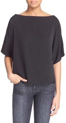 Women's Milly Stretch Silk Bateau Tee $225 thestylecure.com
