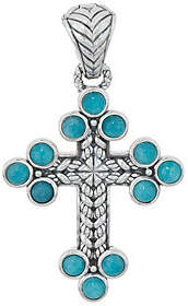 JAI Sterling Silver & Gemstone BasketweaveCross Enhancer