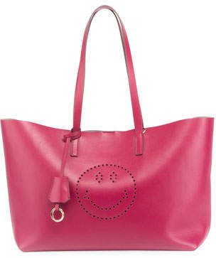 Anya Hindmarch Ebury Smiley Large Shopper Bag, Fuchsia