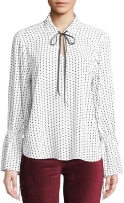Velvet Heart Gale Star-Print Tie-Neck Bell-Sleeve Blouse