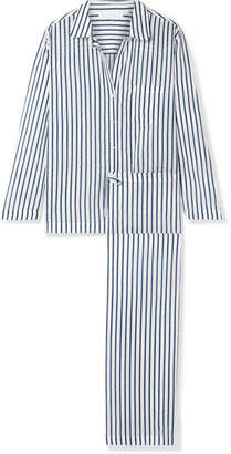 f33f08f880 Pour Les Femmes - Striped Cotton-voile Pajama Set - White