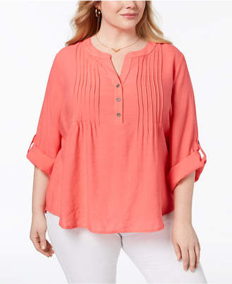 NY Collection Plus Size Pintucked Top
