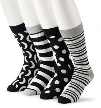 HS by Happy Socks Men's 4-pack Patterned Crew Socks in Gift Box