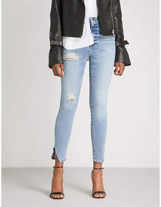 Good American Good Waist frayed-hem skinny cropped high-rise jeans