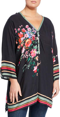 Johnny Was Plus Resort Rose-Print Tunic Blouse, Plus Size