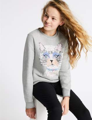 Marks and Spencer Cotton Rich Sweatshirt (3-16 Years)