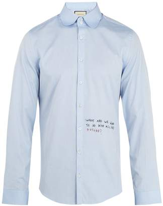 Gucci Single-cuff embroidered oxford-cotton shirt