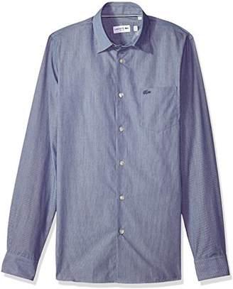Lacoste Men's Long Sleeve Finely Striped-Poplin Slim Woven Shirt