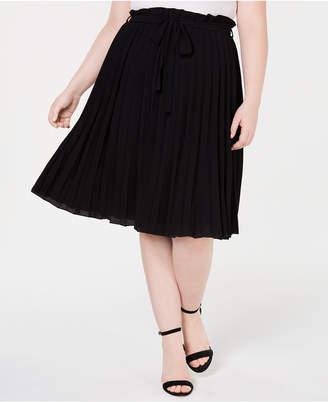 Monteau Trendy Plus Size Pleated Skirt