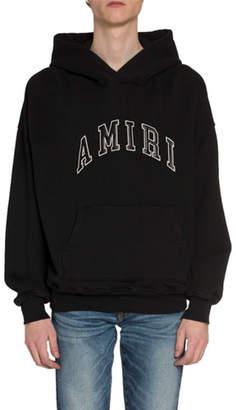Amiri Men's Leather Logo Applique Hoodie