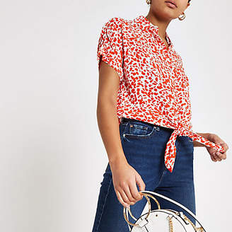 River Island Red spot tie front short sleeve shirt