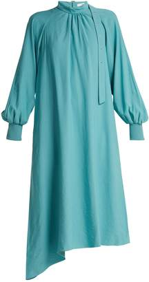Tibi High-neck asymmetric twill dress