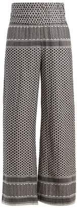 Cecilie Copenhagen - Wide Leg Scarf Jacquard Cotton Trousers - Womens - Black White