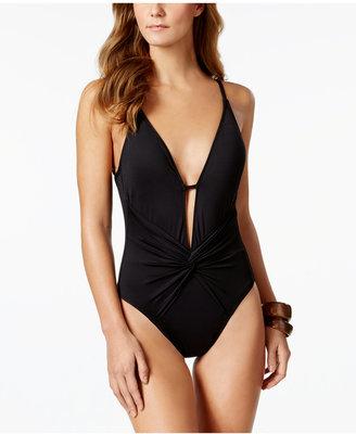 La Blanca Island Goddess Twist-Front Plunging One-Piece Swimsuit Women's Swimsuit $119 thestylecure.com