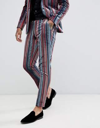 Asos DESIGN skinny suit pants in blue and burgundy velvet stripe