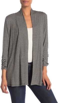 Bobeau Striped Open 3/4 Length Sleeve Cardigan