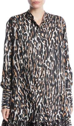 1f80e502e3e3 Calvin Klein Long-Sleeve Button-Front Leopard-Print Silk Twill Blouse
