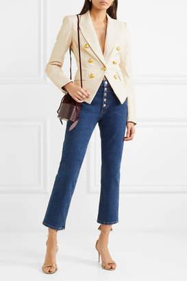 Veronica Beard Cooke Leather Blazer - Ivory