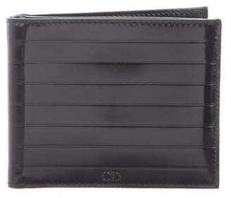 Christian Dior Black Tie Patent Leather Bifold Wallet