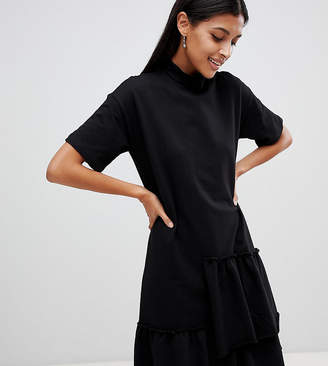 Noisy May High Neck Asymmetric Ruffle Dress