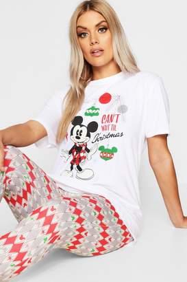 boohoo Plus Vintage Mickey Disney Pyjama Set