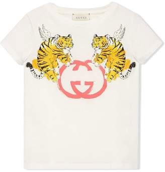 Gucci Kids Children's T-shirt with winged tigers print