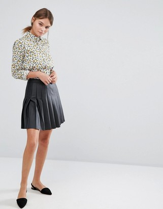 Oasis Leather Look Pleated Mini Skirt $62 thestylecure.com