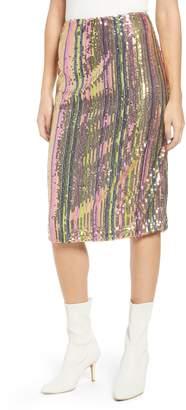 Leith Rainbow Sequin Midi Skirt