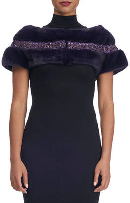 Swarovski Carolyn Rowan Mink Fur Capelet with Crystals