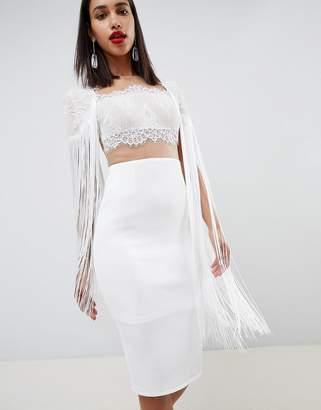 f5f2663b68663f Asos Design DESIGN lace top scuba midi dress with fringe cape