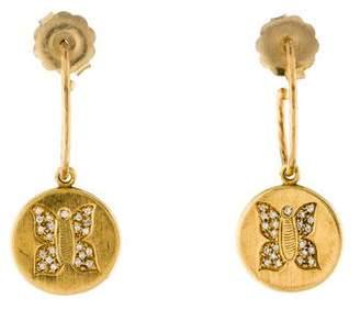 Carolina Bucci 18K Diamond Butterfly Hoop Earrings