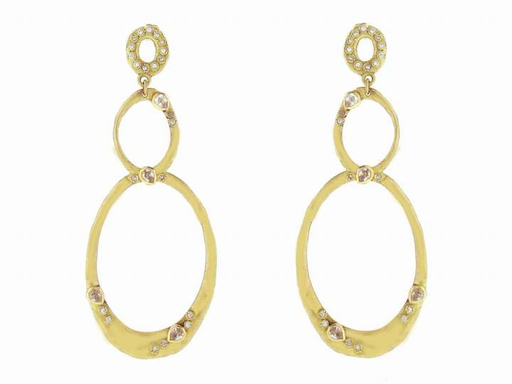 Emily Armenta Triple Gold Oval Earrings with Diamonds