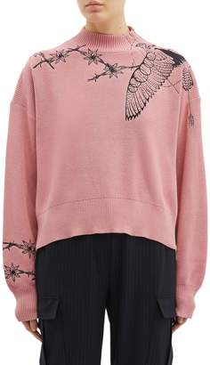 Sacai x Dr. Woo zip outseam graphic embroidered mock neck sweater