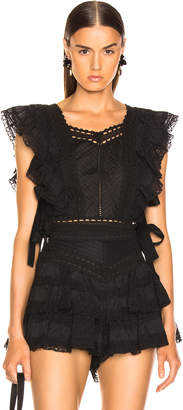 Zimmermann Juniper Pintuck Bodice Top in Black | FWRD