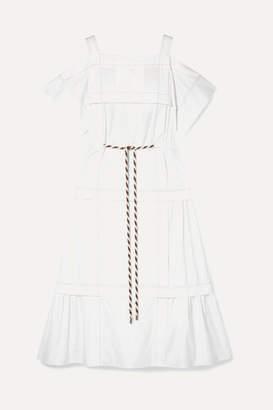 Peter Pilotto Cold-shoulder Pintucked Cotton-poplin Midi Dress - White