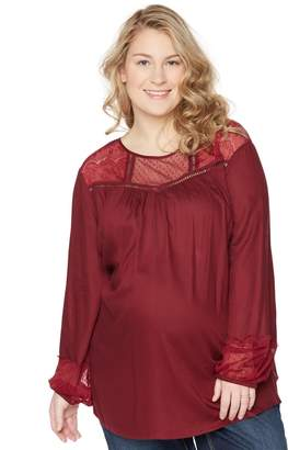 Wendy Bellissimo Motherhood Maternity Plus Size Lace Trim Maternity Blouse