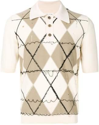 Maison Margiela deconstructed argyle polo shirt