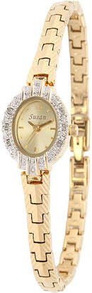JCPenney FINE JEWELRY Personalized Dial Womens Diamond-Accent Oval Gold-Tone Bracelet Watch