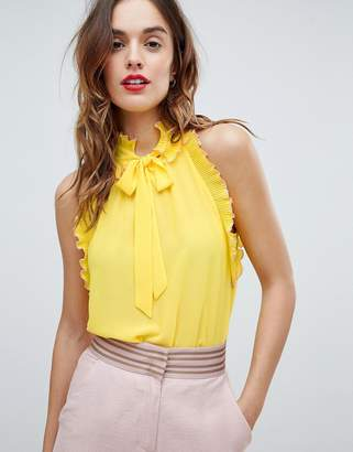 Sisley Ruffle Trim Tie Neck Top