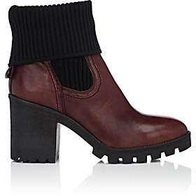 Barneys New York WOMEN'S FOLDOVER-CUFF LEATHER ANKLE BOOTS-WINE SIZE 9