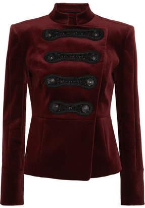 Pierre Balmain Drummer Boy Embellished Cotton-blend Velvet Jacket - Burgundy
