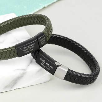 Lisa Angel Personalised Men's Woven Leather Bracelet